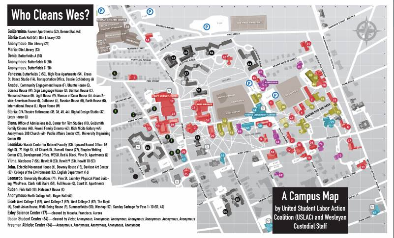 """Who Cleans Wes?"" Map Created by United Student Labor Action Coalition (USLAC)"