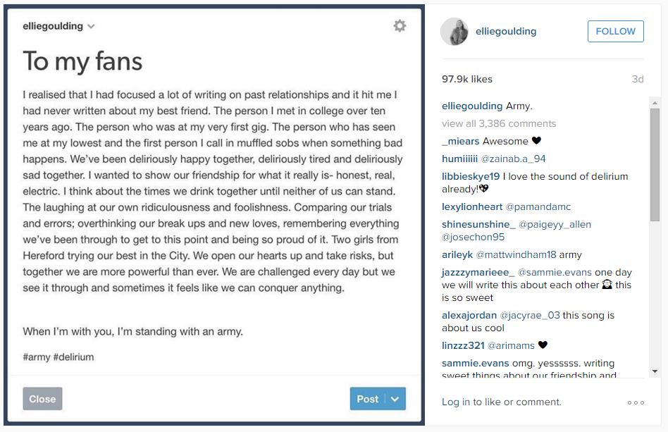 Ellie Goulding's Instagram