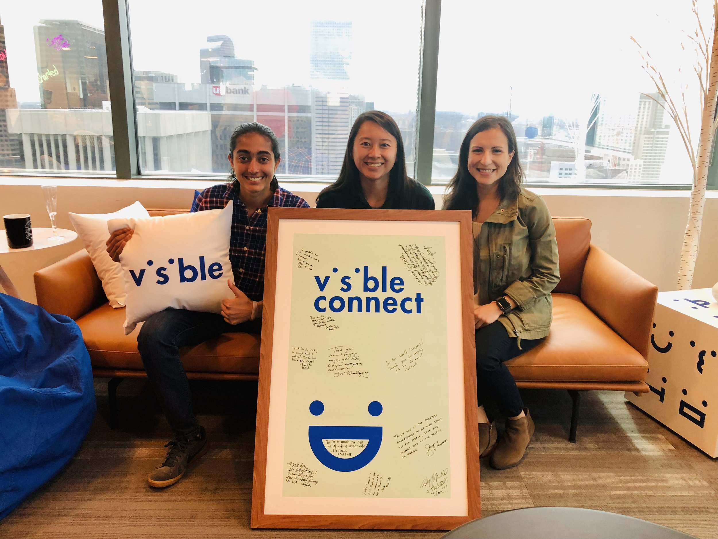 Vichi, Liz, and Cristina celebrated the end of the 9-month Visible Connect accelerator at Visible's offices in Denver, CO last week.