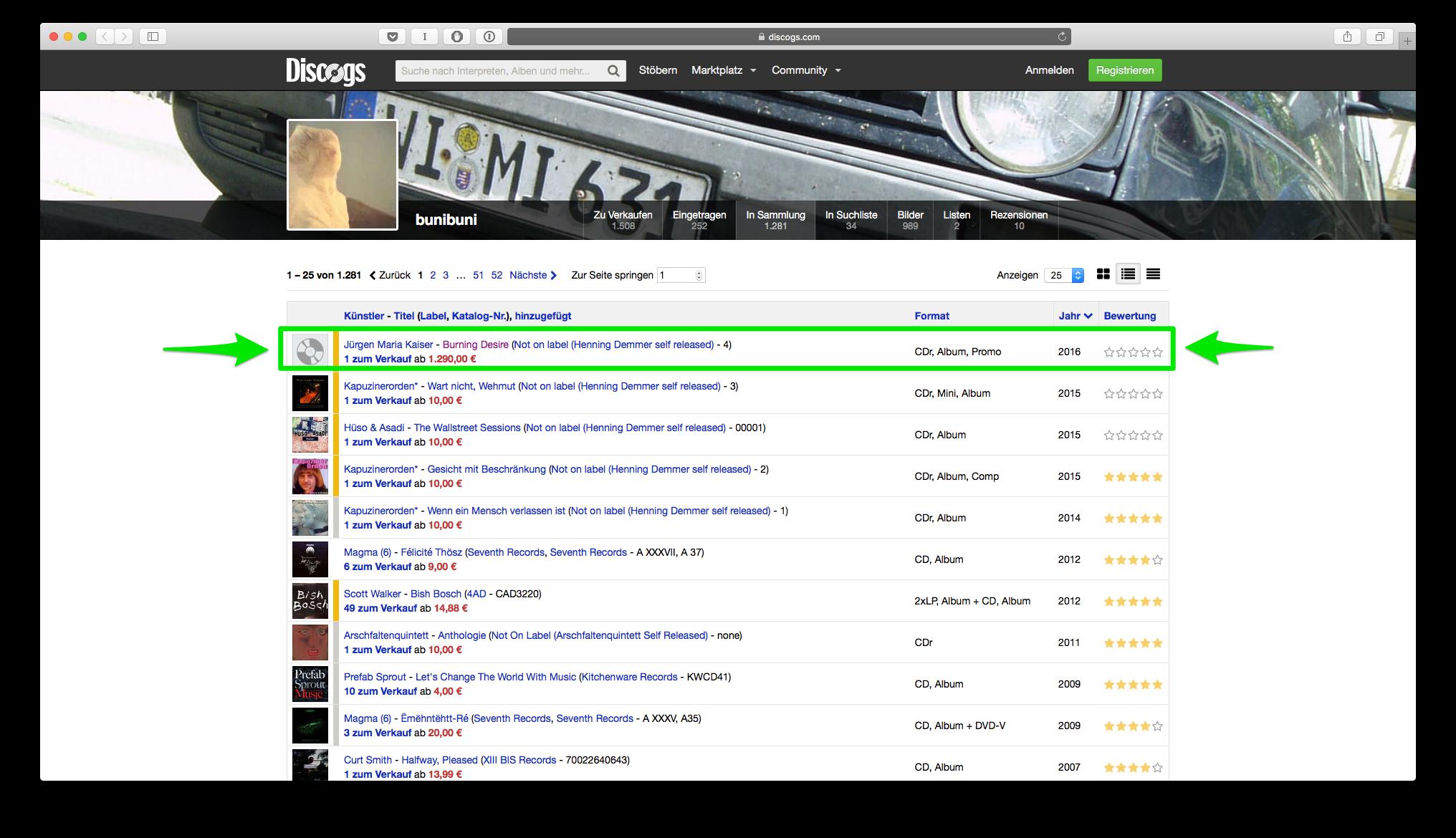 Screenshot  https://www.discogs.com/user/bunibuni/collection