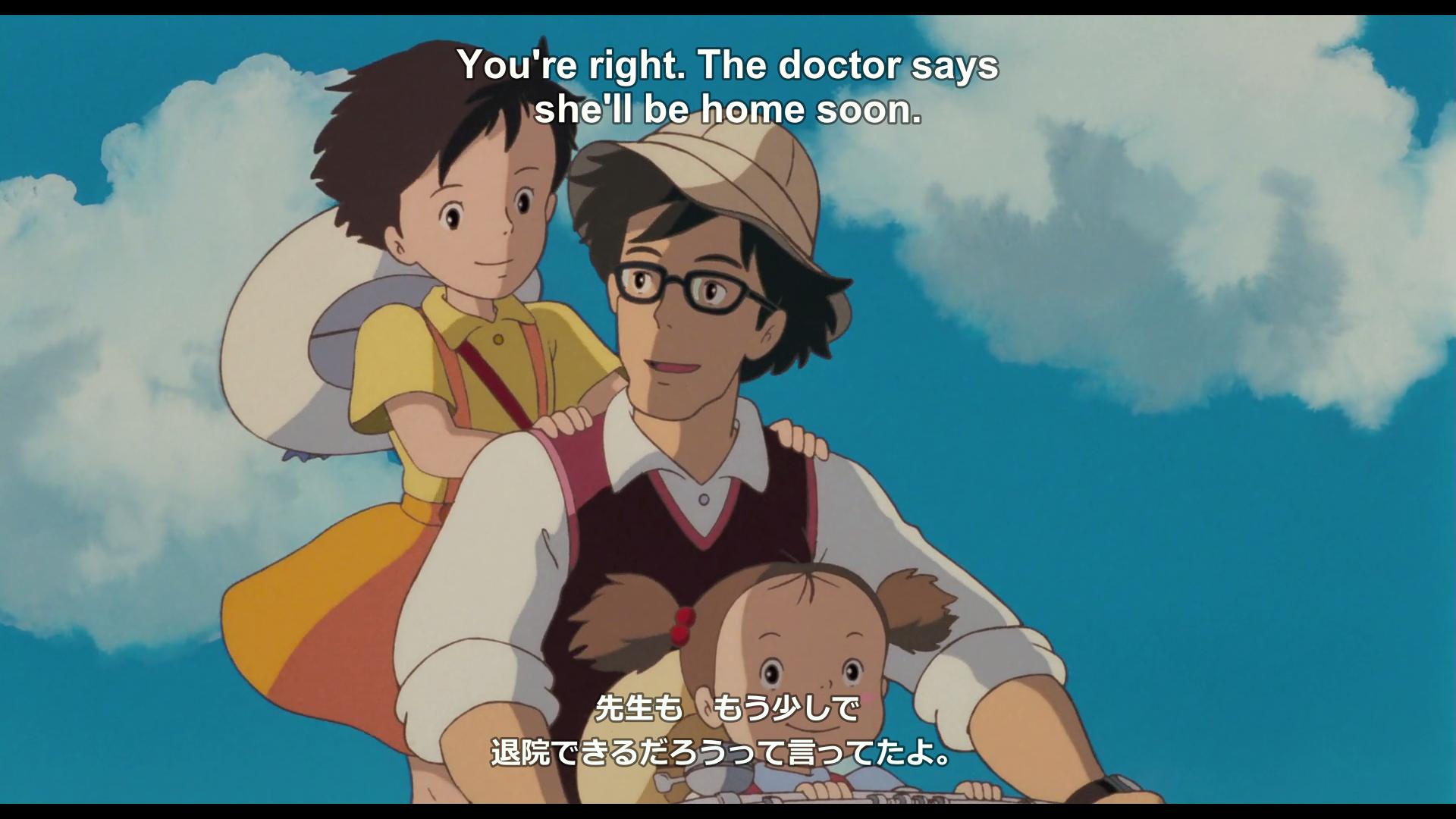 A scene from Tonari no totoro (1988) featuring custom made dual subtitles.