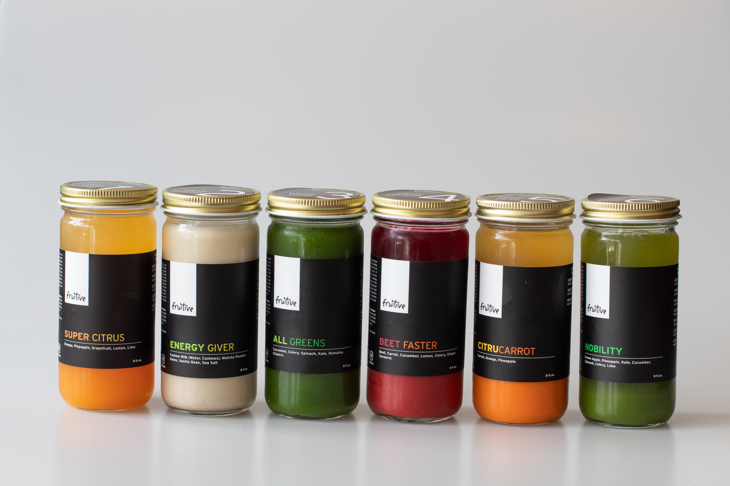 SUSTAINABLE - Fruitive bottles all of its cold-pressed juices in glass jars.