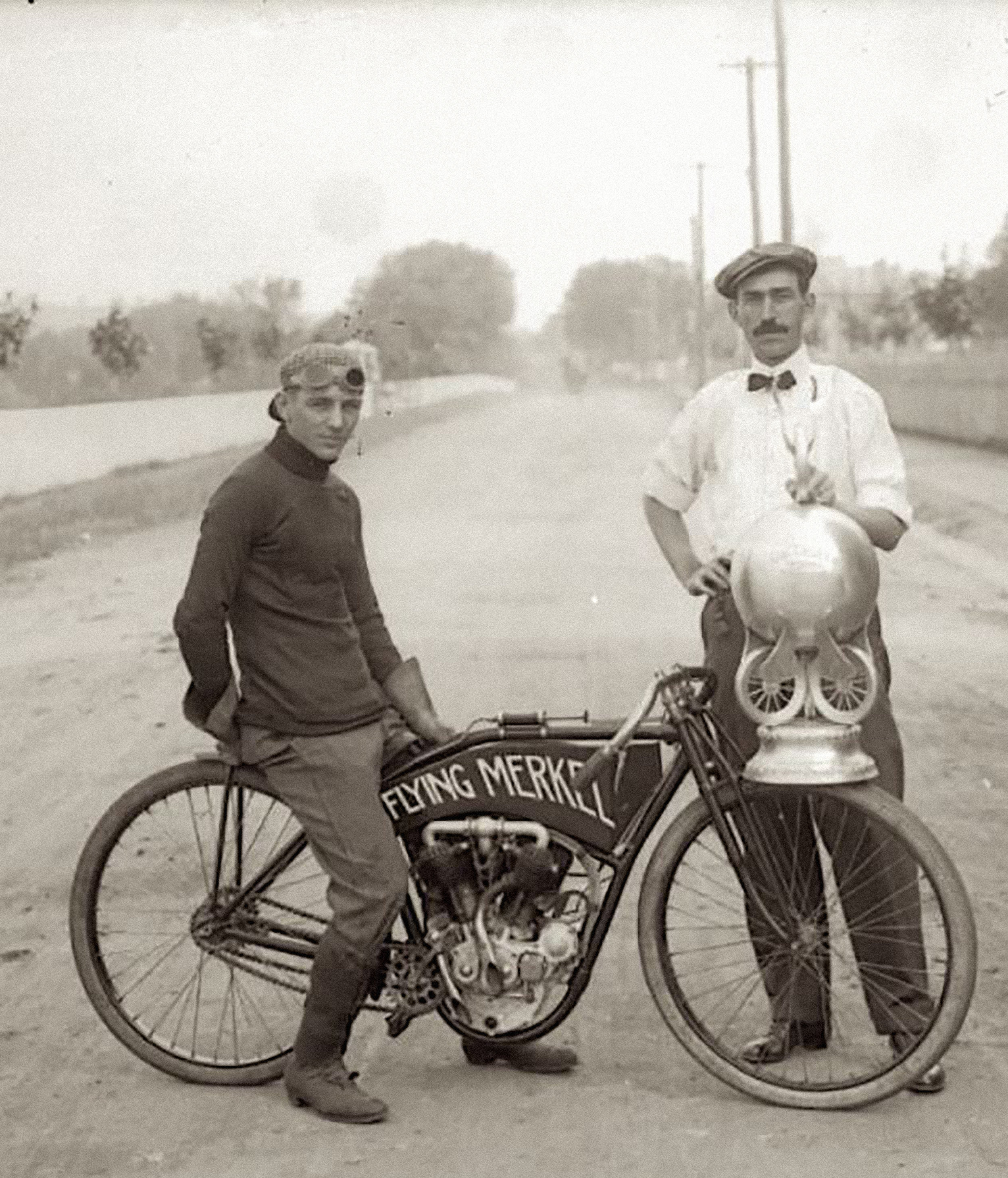 OUR STORY - I'm the great grand nephew of Joseph Merkel (pictured here on the right after one of his cylces won the 1910 FAM championship race), and for as long as I can remember the Flying Merkel brand has been a source of pride in our family. For us it is more than just an amazing piece of Americana - it is a part of our family history, and part of what has made motorcycling, motorcycling! We've taken that pride a step further, and have fought for the rights to own this brand and shepherd it into the future. We are extremely proud to finally call ourselves Flying Merkel!