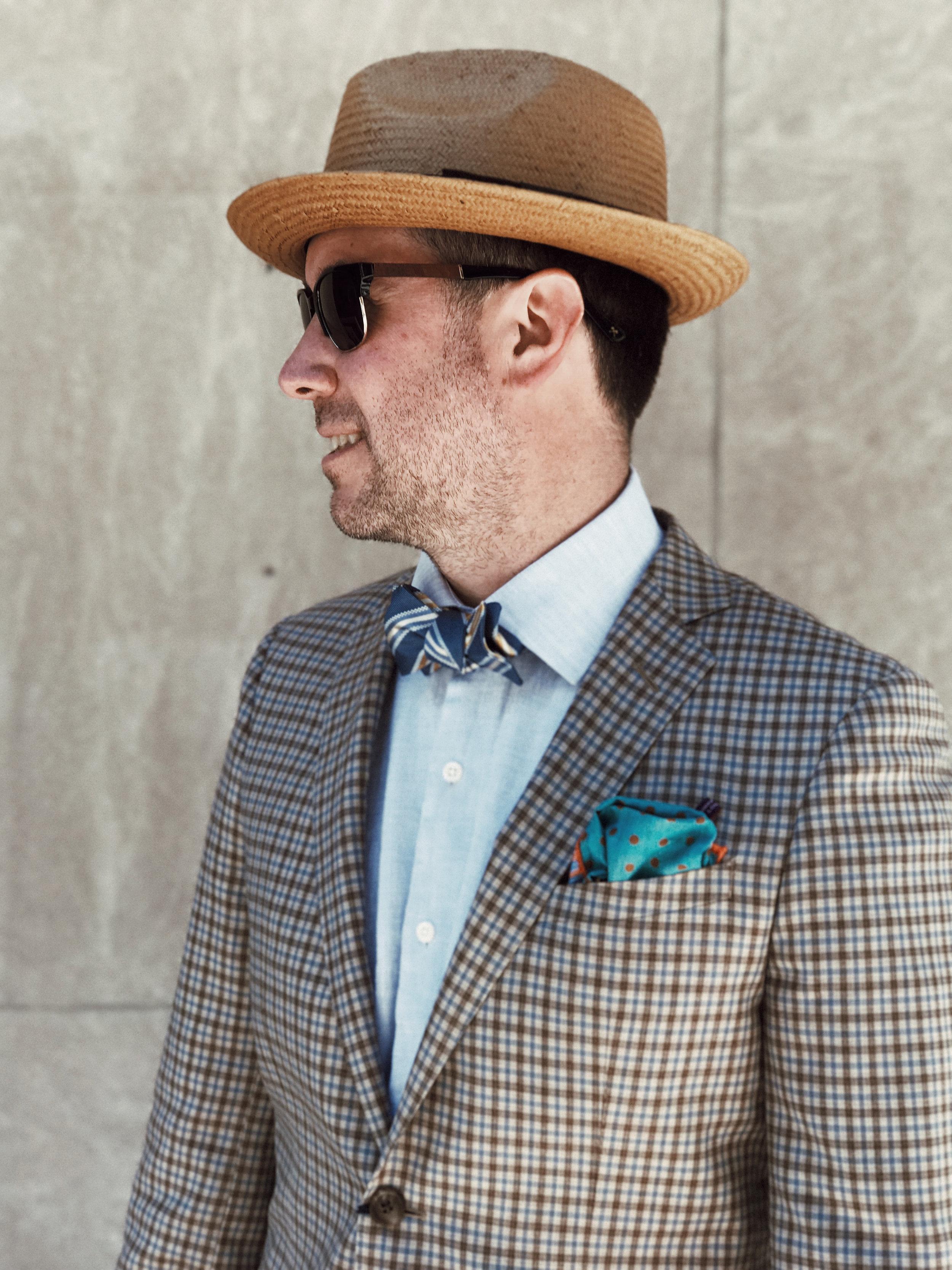 On Craig: Sunglasses: Shwood,Shirt: Peter Millar,Jacket: BluJacket,Bowtie: The QG,Pocket Square:  Seaward & Stern