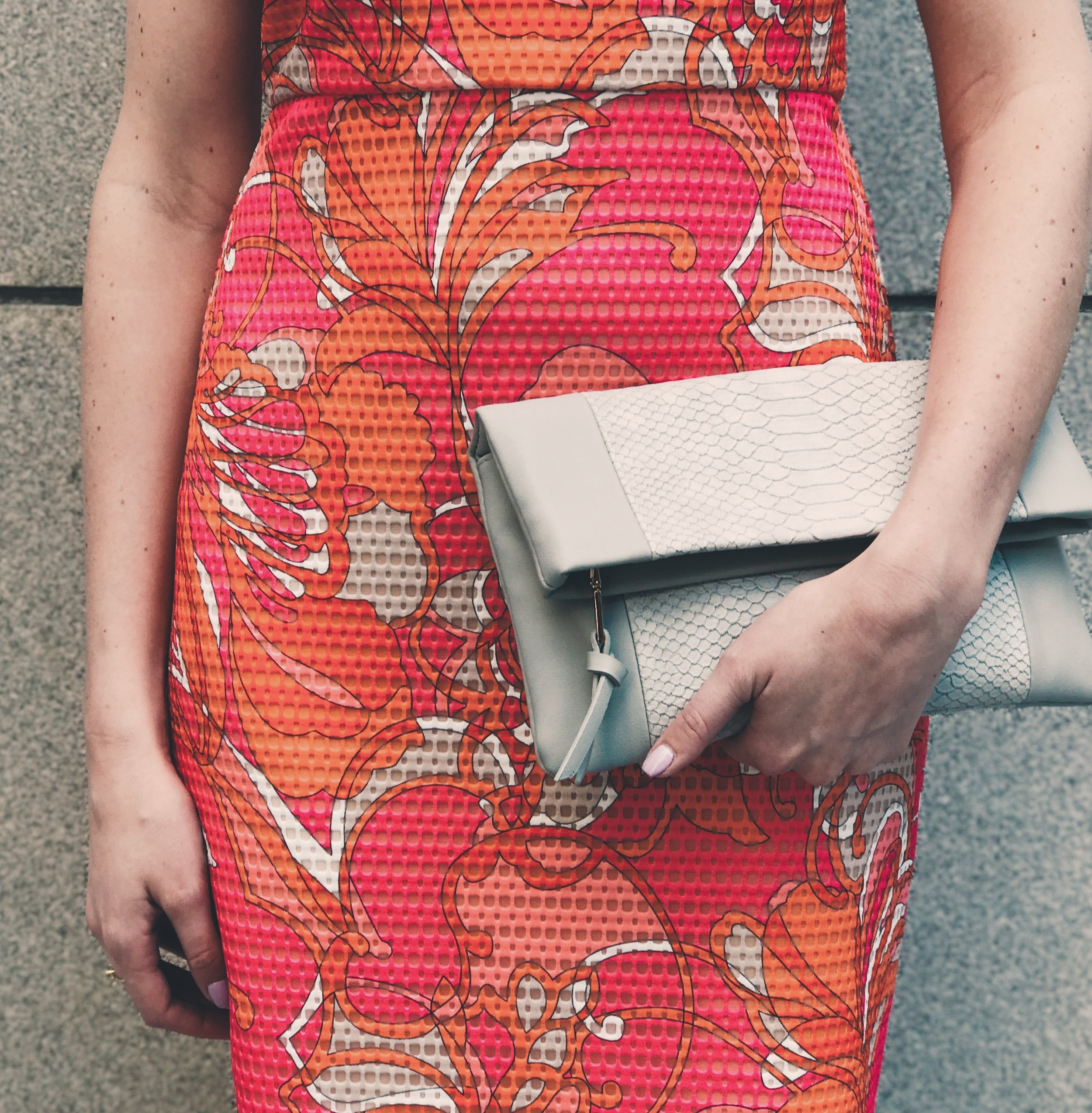 featuring gray urban expressions clutch with pink trina turk dress the qg