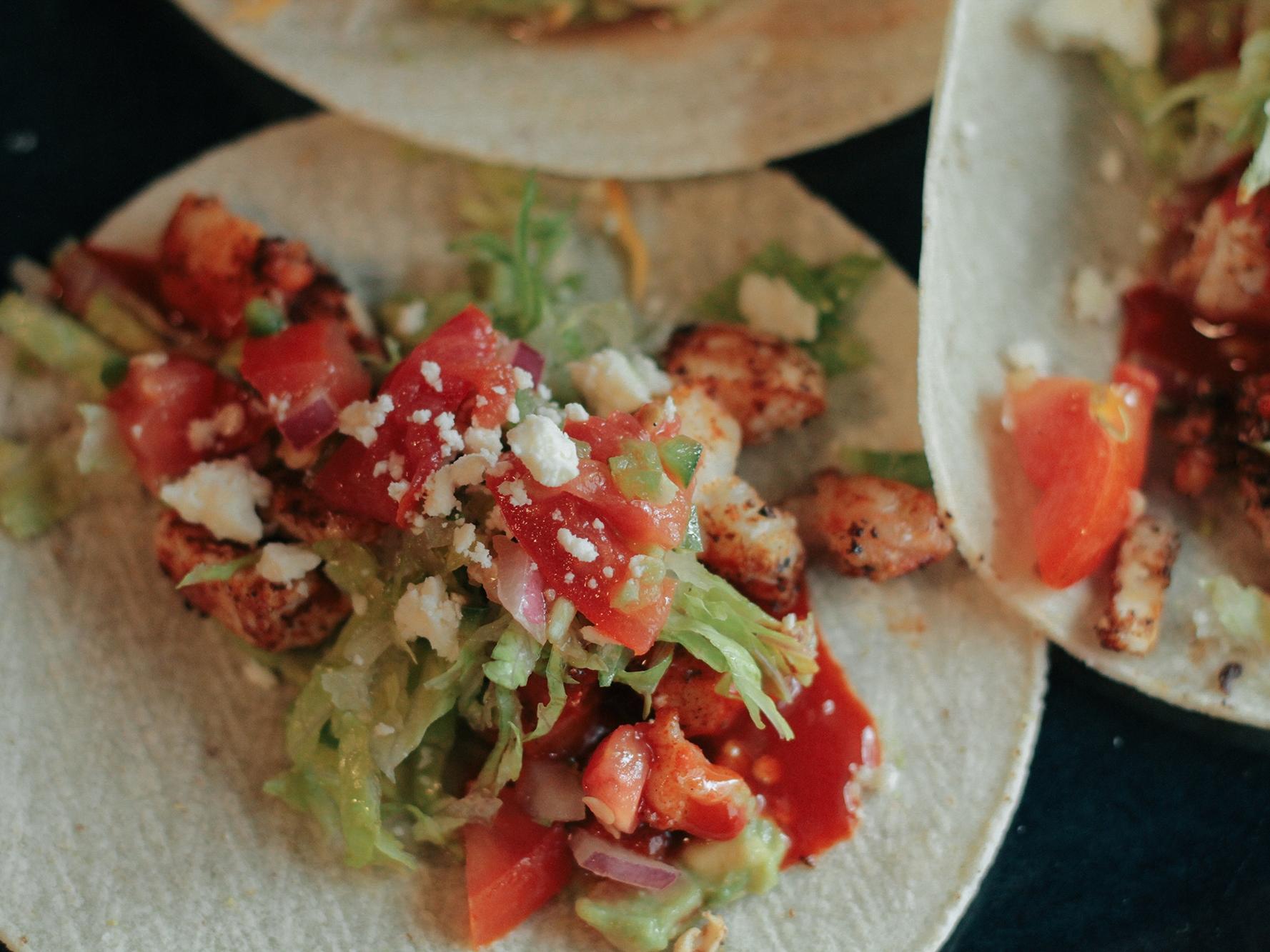 shrimp tacos at clock restoration