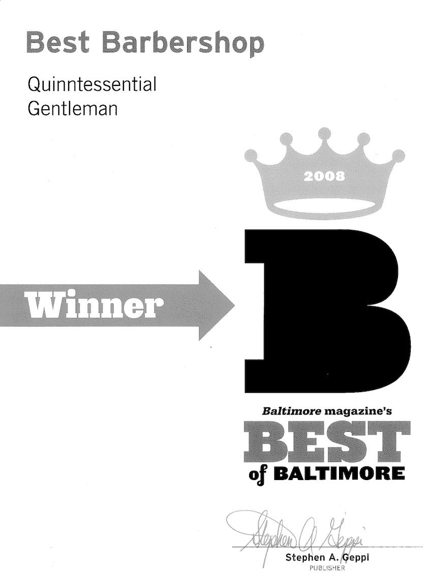 Baltimore Magazine 2008, Best of Baltimore Best Barbershop