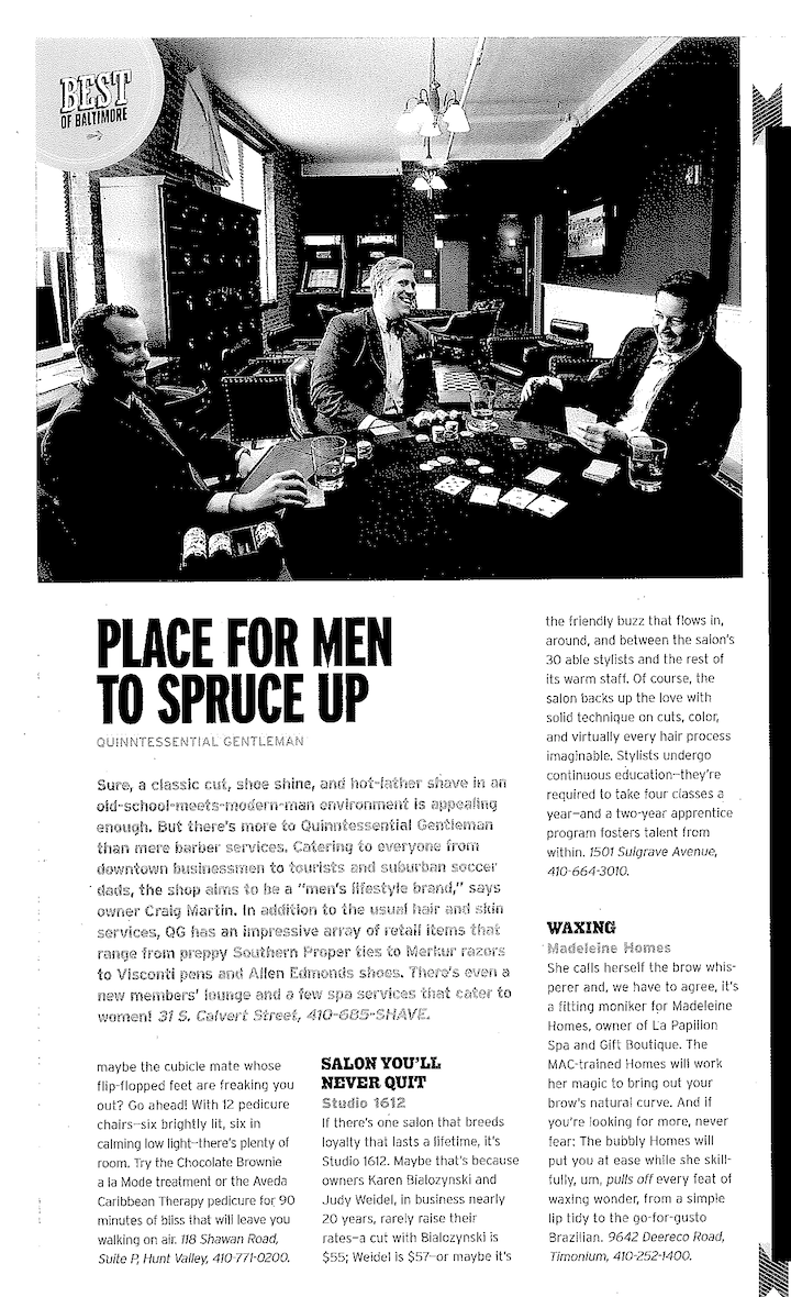 Baltimore Magazine 2011, Best of Baltimore 2011, Best Place for Men to Spruce Up