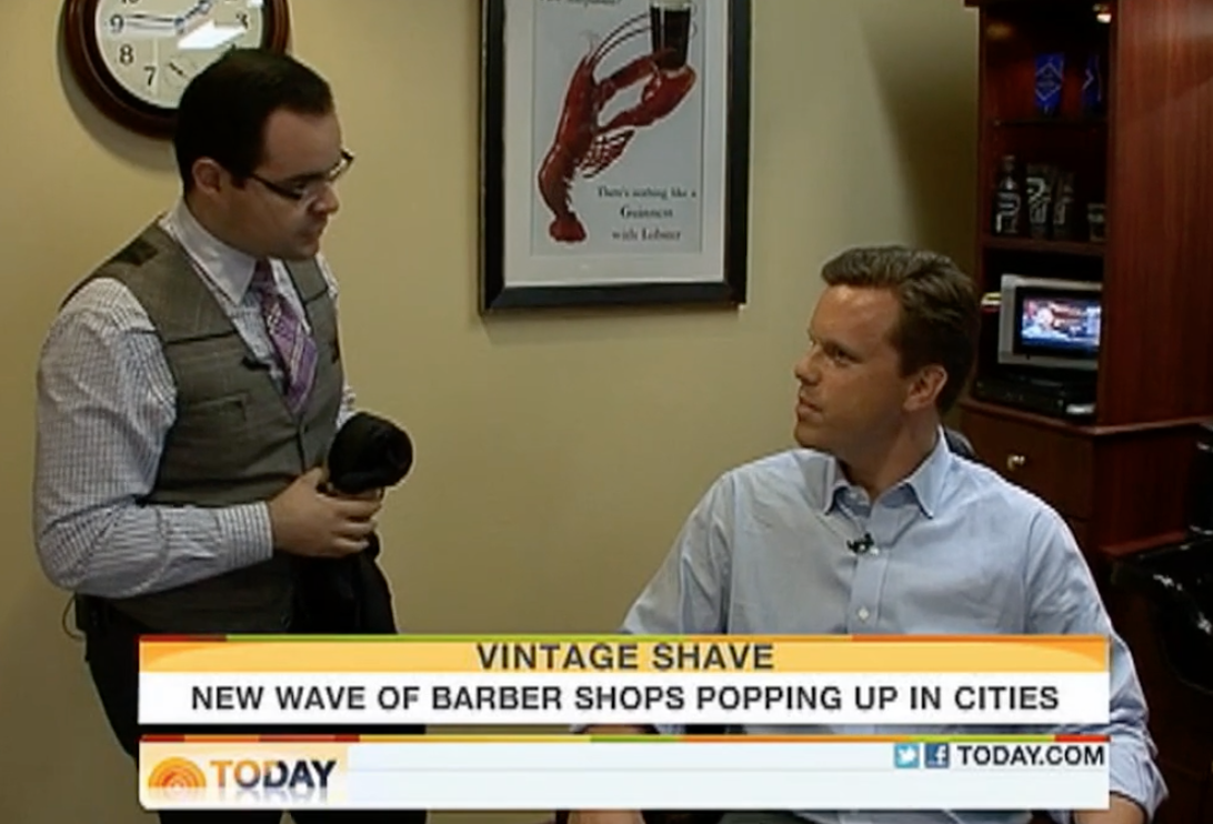 QG featuring on the NBC Morning Show, Vintage Shave feature, 2011
