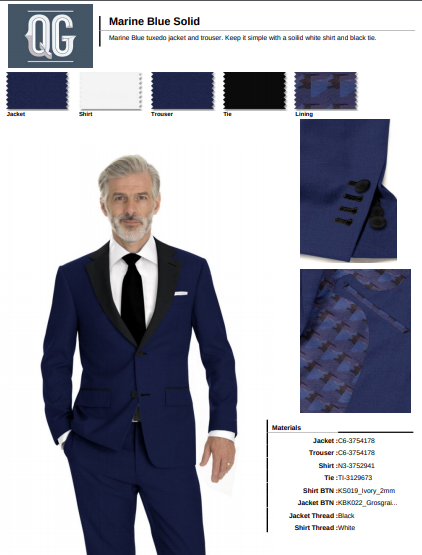 Formal wear two button peak collar tuxedo