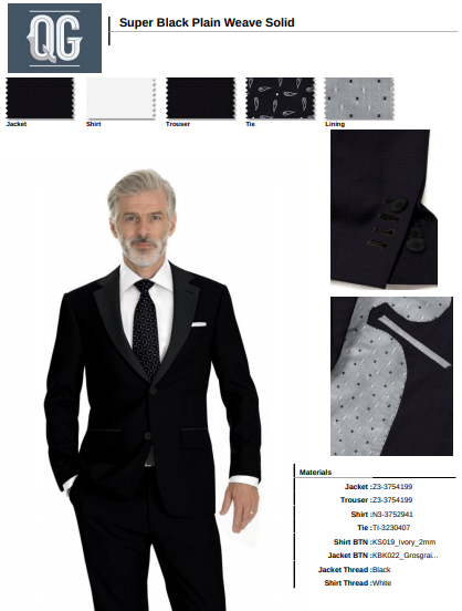 Formal wear one button peak collar tuxedo