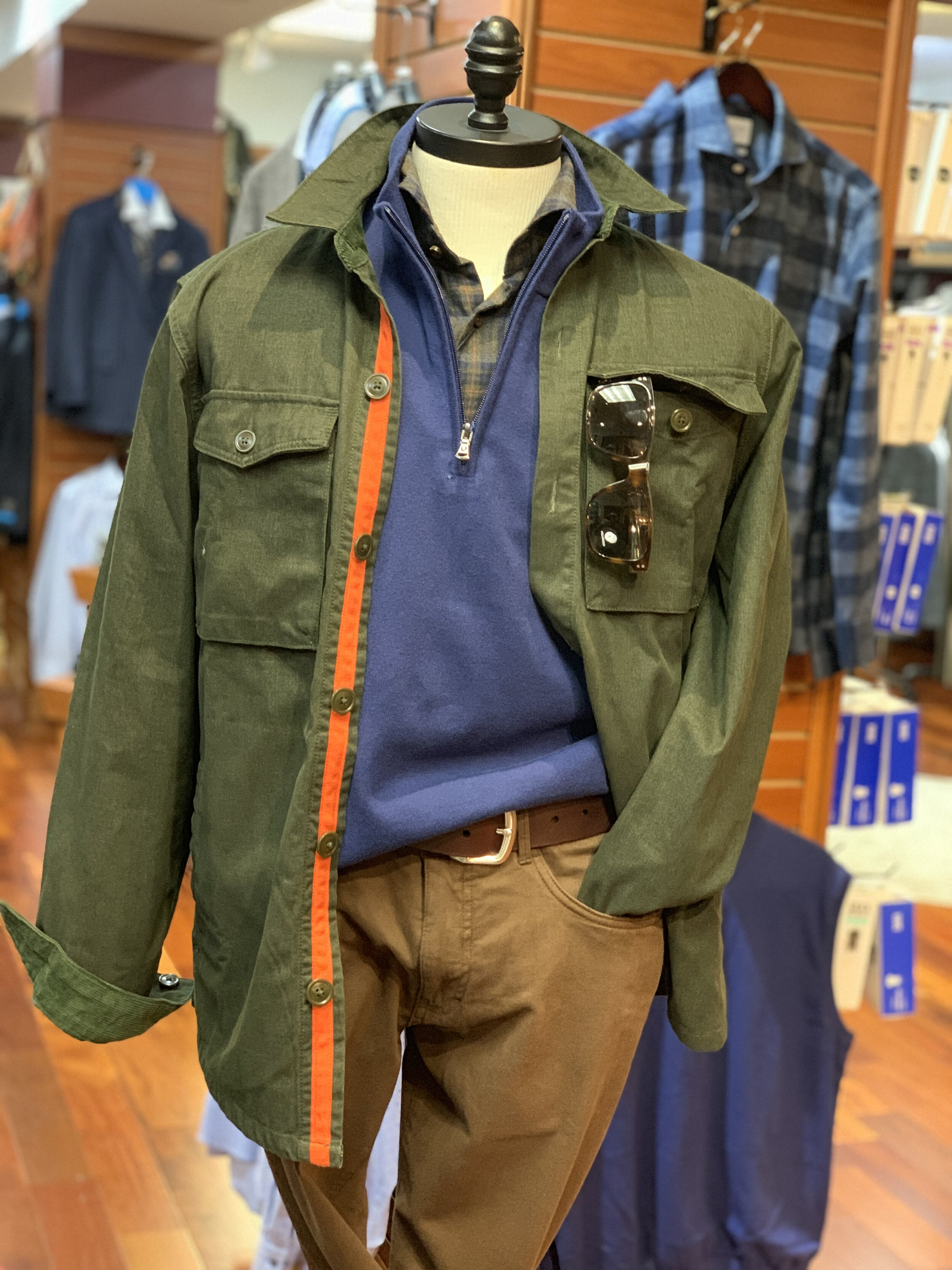 Barbour Overshirt, Oxford Pullover, Stenströms Sportshirt, Shwood Sunglasses, Duck Head Canvas Pants