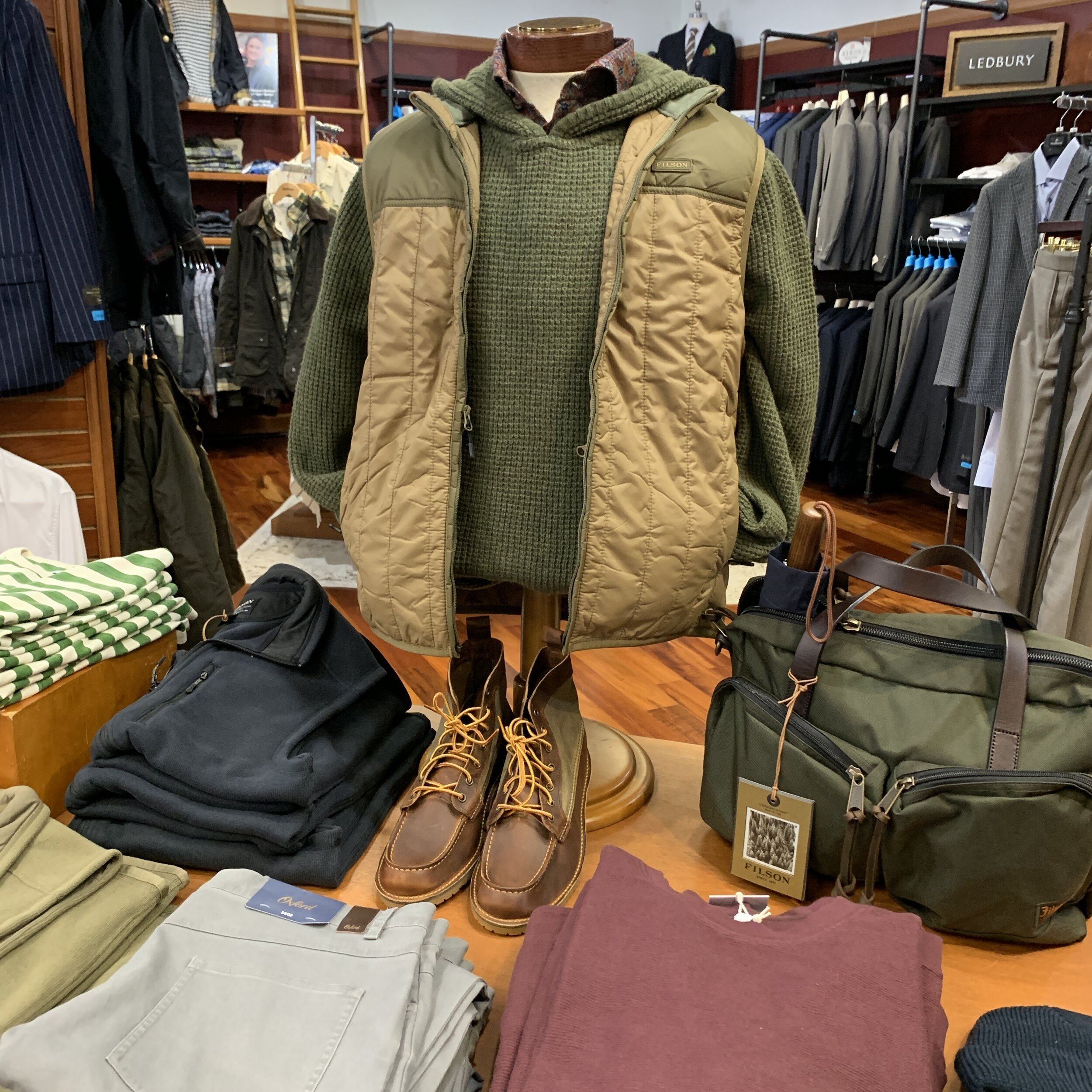 Filson Vest, Banks Journal Waffle Weave Hoodie, Stenströms Sportshirt, Redwing boots