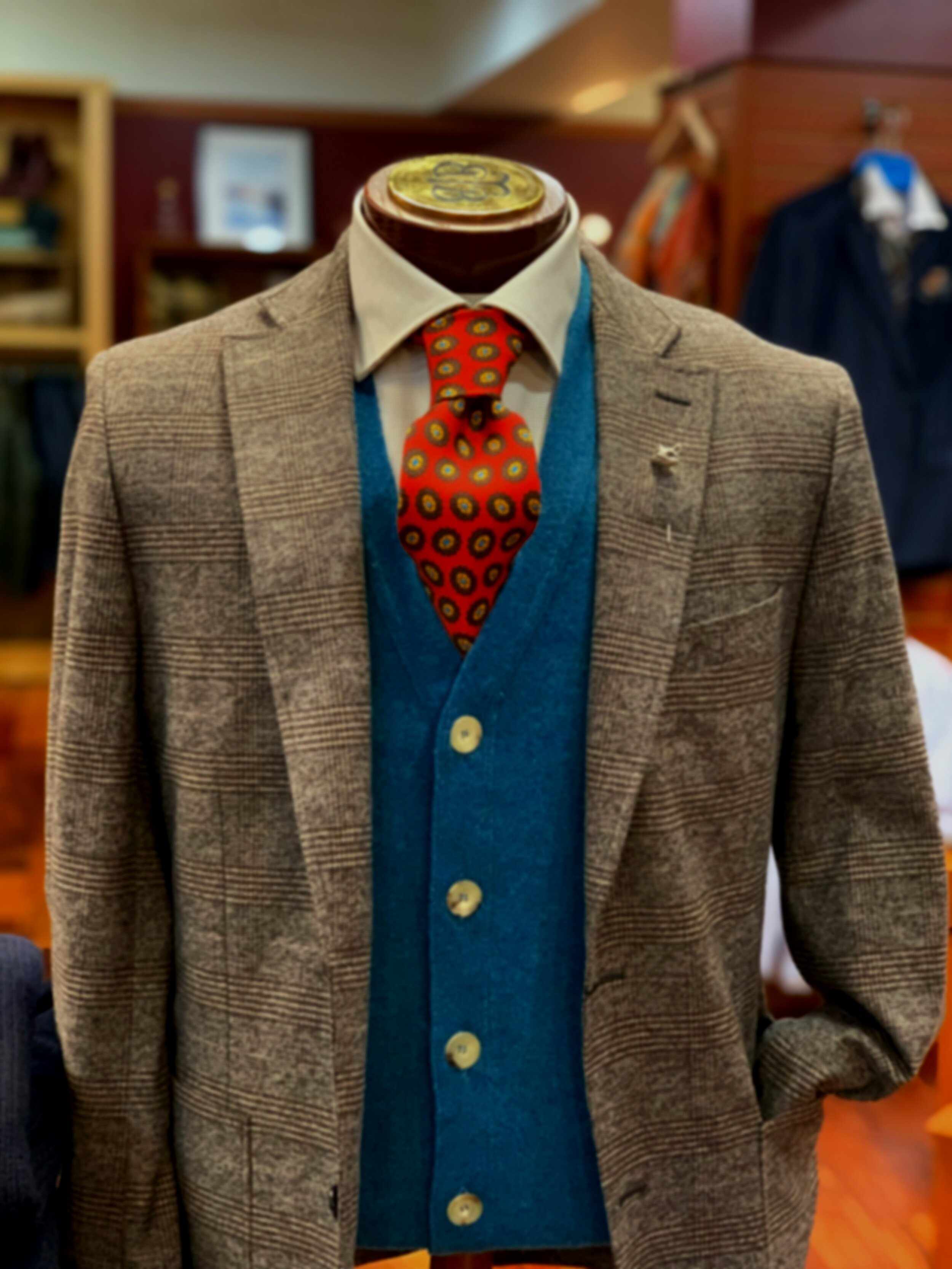 PB Sports Coat, Drake's Sweater Vest, Drake's tie, Stenströms Dress Shirt, Seaward and Stearn Fox Label Pin