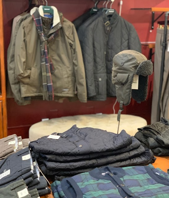 Barbour Vest, Jackets, Winter Caps and accessories are always a Holiday favorite