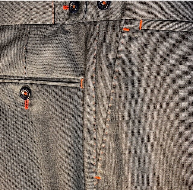 Trousers with contrast Pick Stitching