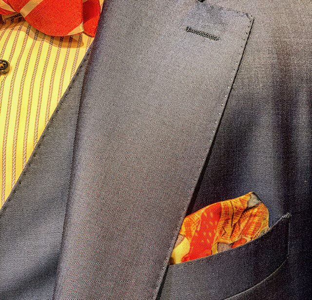 Pick Stitching on vest, lapel and breast pocket. See the crispness of the edges with the addition of the stitch