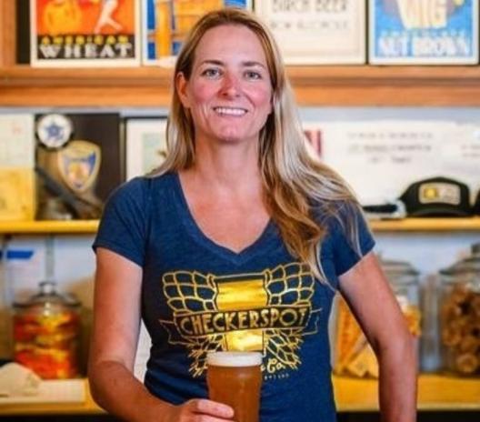 Judy Neff, Brewer of Checkerspot and regular QG massage client
