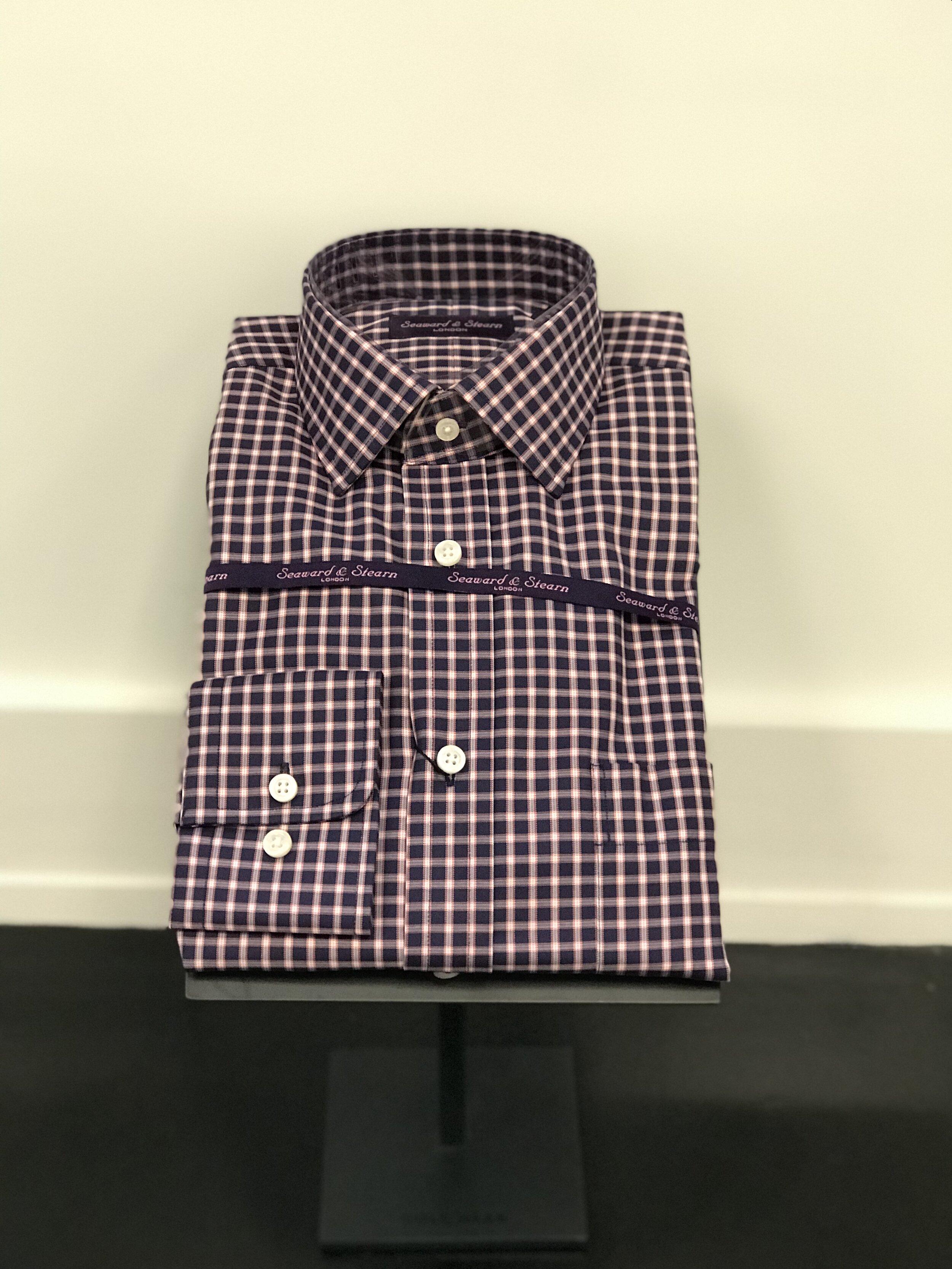 Button Down Collar Purple Gingham Shirt by Seaward & Stearn