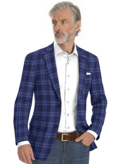 This custom sports coat and custom pair of jeans  is a computer generated image based upon a swatches that we carry for the Spring 2020 season