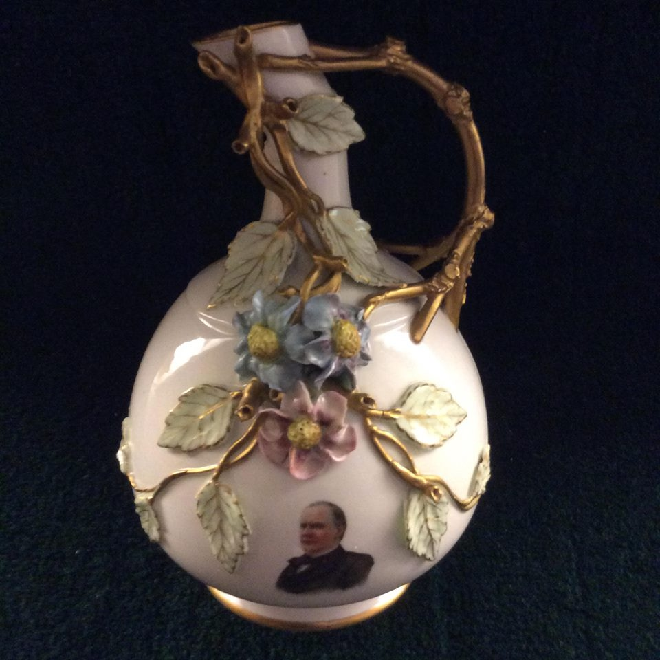 Lotus WAre  - Dr. Marc Hoffrichter and his wife Cindy have donated a rare Lotus Ware ewer to the Museum of Ceramics Foundation.  The ewer is decorated with a decal of President McKinley.  The Hoffrichters made the donation following Dr. Hoffrichter's presentation on McKinley at the Museum's MoC Talks on May 11, 2018.