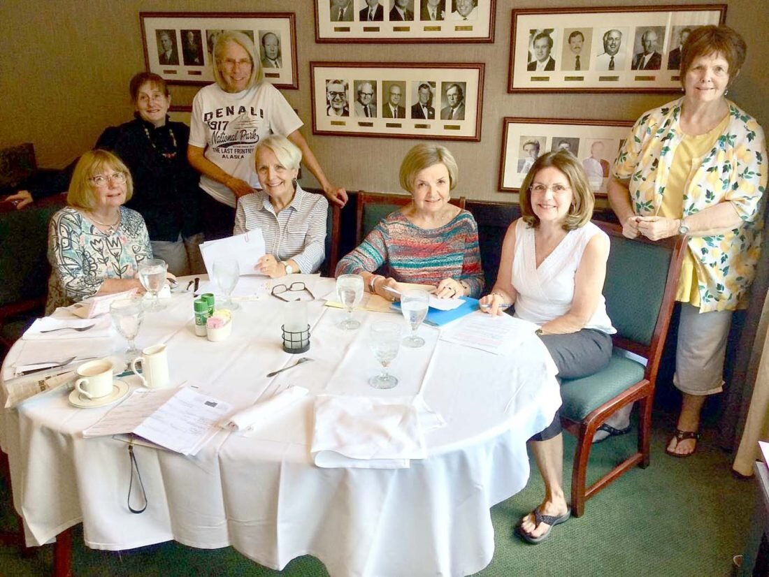 The Lady Slippers are all set for the Arts Festival. Seen here are (standing) Mary Martha Koos, Barrie Archer, Betsy Miller.  Seated: Kathy Duncan, Judy Fannin, Sandy Votaw, and Cindy Hoffrichter.