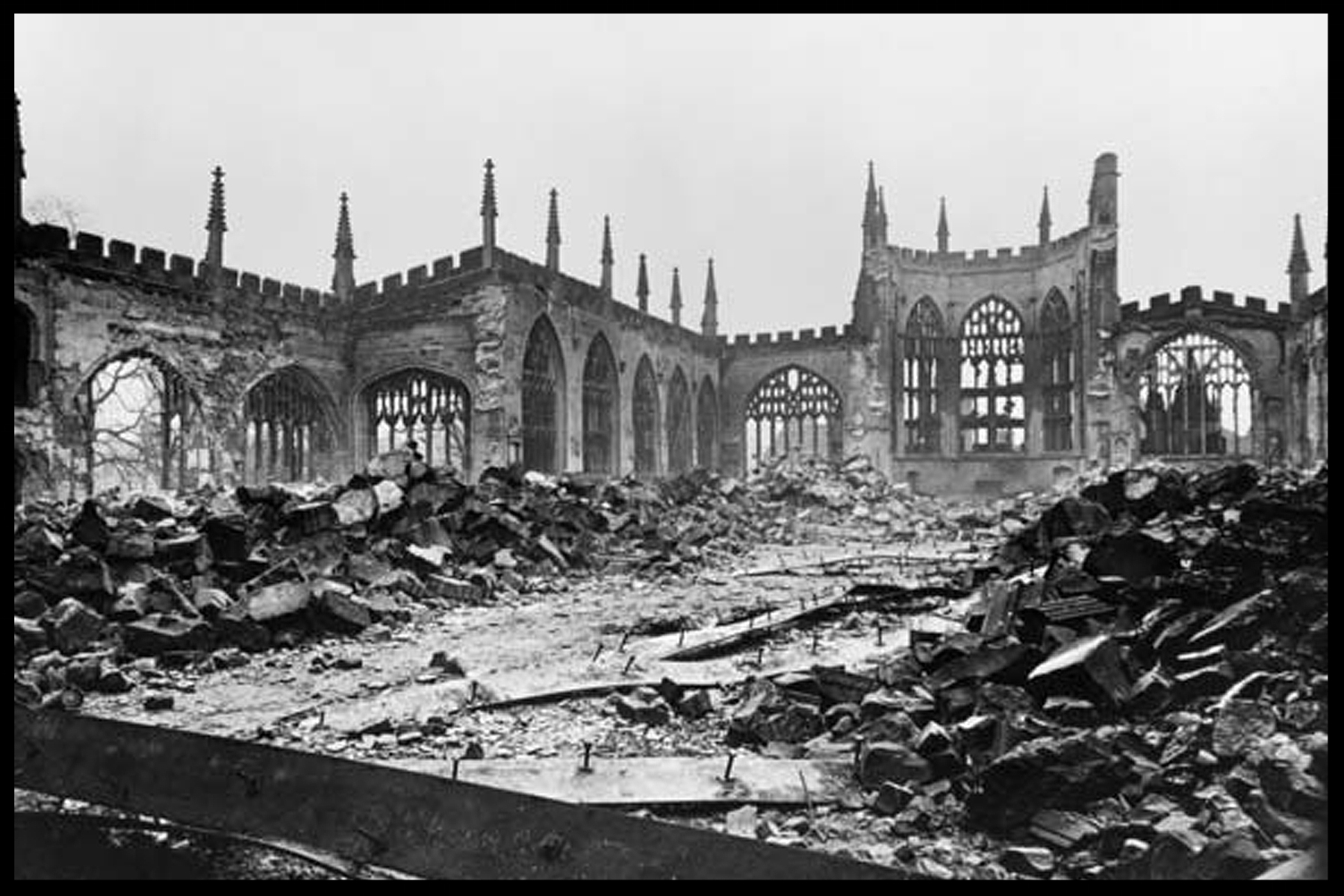 The then-extant Medieval Cathedral of St. Michael was destroyed, along with almost 5,000 homes and a substantial portion of Coventry's industries, in the massive German air raid of November 14, 1940