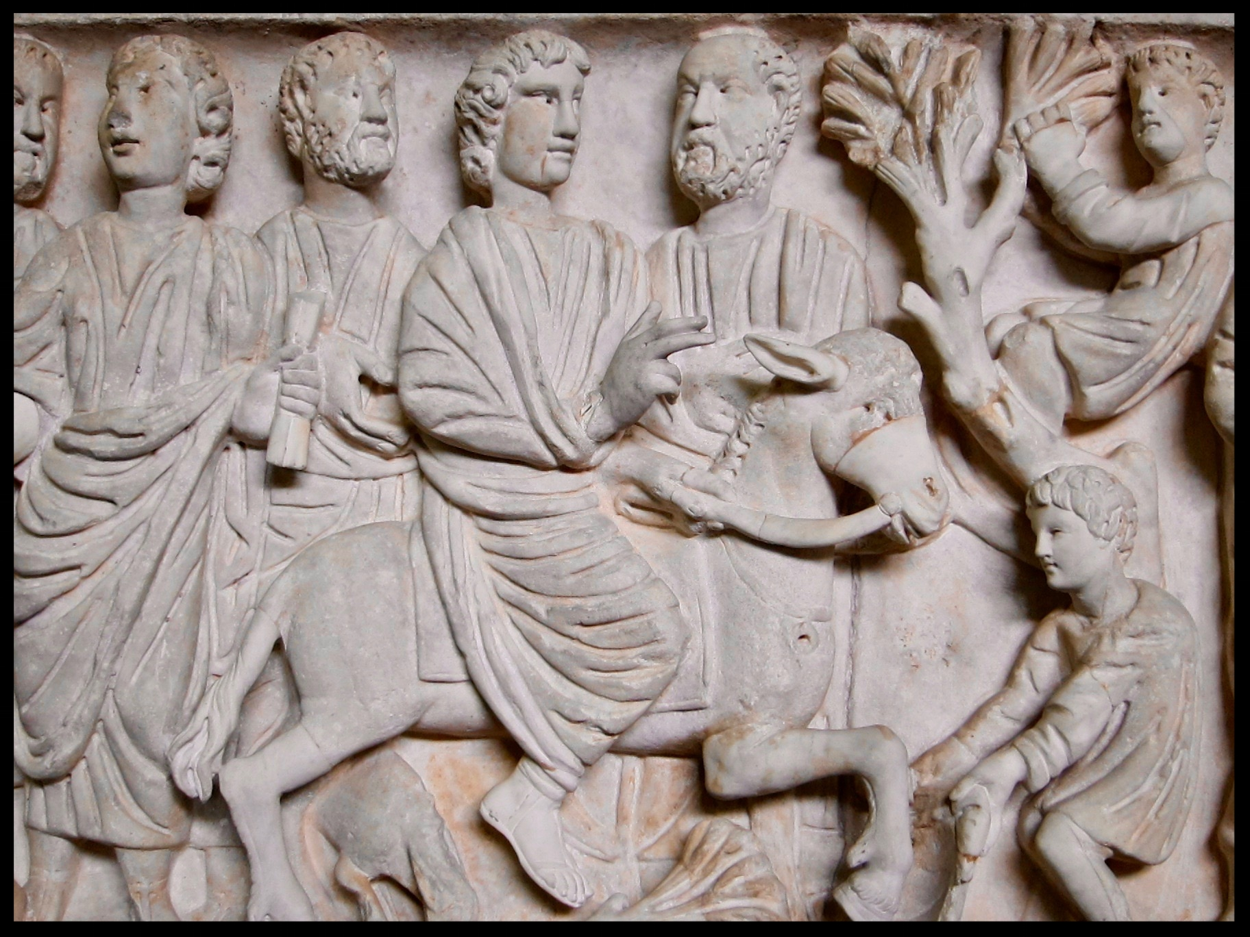 Christian sarcophagus freize depicting the Lord's entry into Jerusalem on Palm Sunday - Rome c 4th century