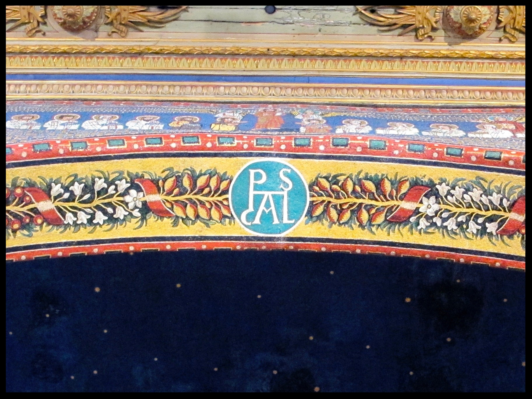 "Apsal Arch with a rondel in mosaic of the name ""Paschal"""