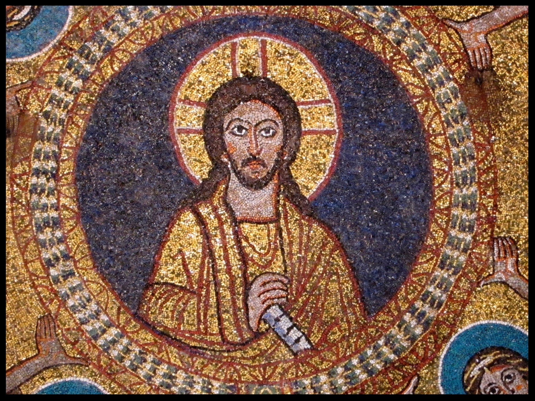 Rondel of Christ from the ceiling mosaic of the St. Zeno Chapel