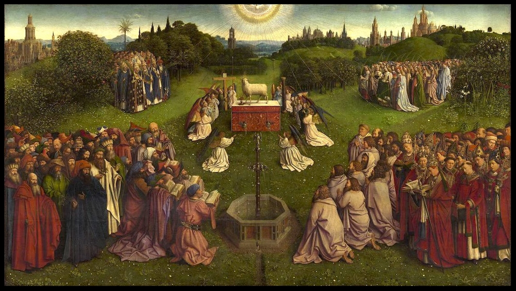 Adoration of the Mystic Lamb in the Ghent Altarpiece in St. Bavo's Cathedral - Jan van Eyck
