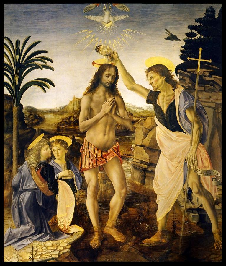 The Baptism of Christ at the Hands of John the Baptist - Leonardo da Vinci