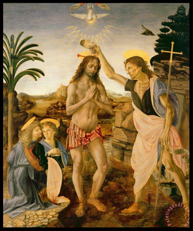 Jesus baptized by John the Baptist - Leonardo da Vinci