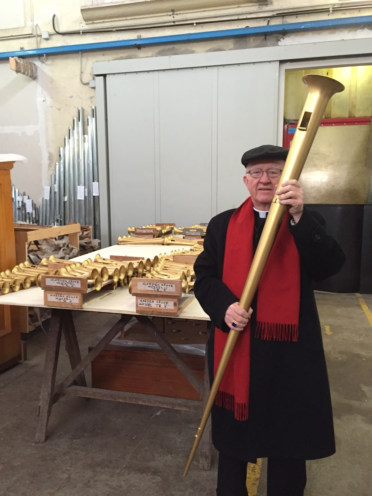 Bishop Vann at the Fratelli Rufatti factory in Padua, Italy