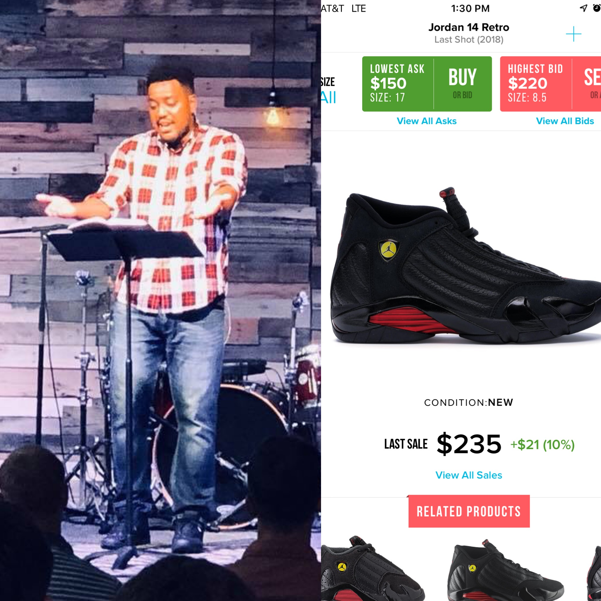 """Check out @brgraves32 in those retro Jordan """"last shot"""" 14's. I didn't pay $235, but they certainly didn't come from Payless ."""