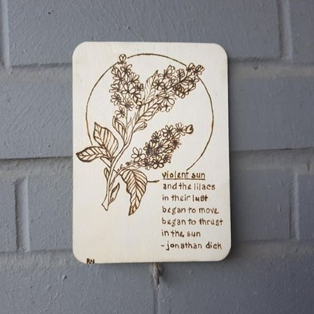 """Big shout out to @rea.creates for this amazing wood burning of my poem """"violent sun."""" Thank you very much!"""