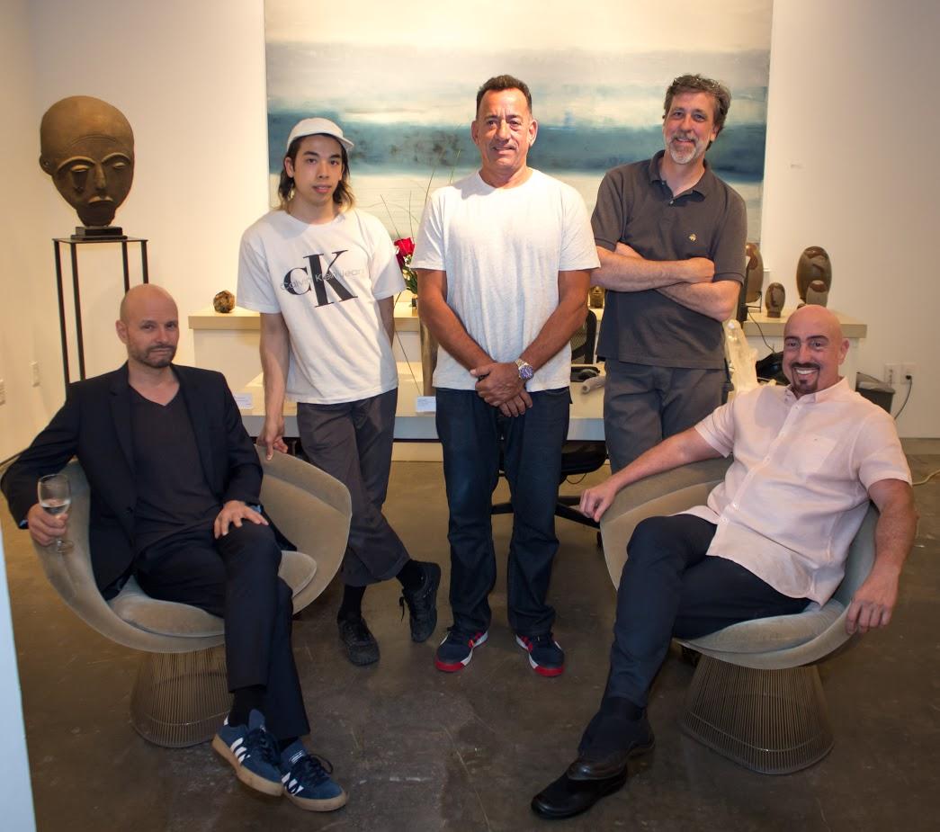 Bill Lowe Gallery art preparator team with German artist Reiner Heidorn.