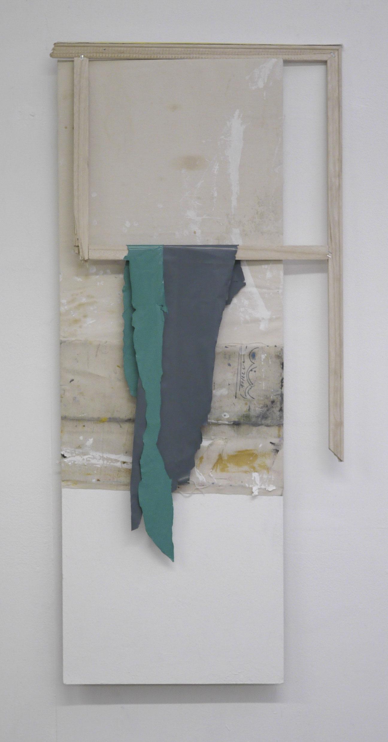 Broken skin (2016) Artists rags, canvas worktop, paint skins, broken frame on board, 123 x 58 x 4 cm.JPG