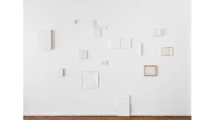 Fernanda Gomes (2017)Installation view of studio.