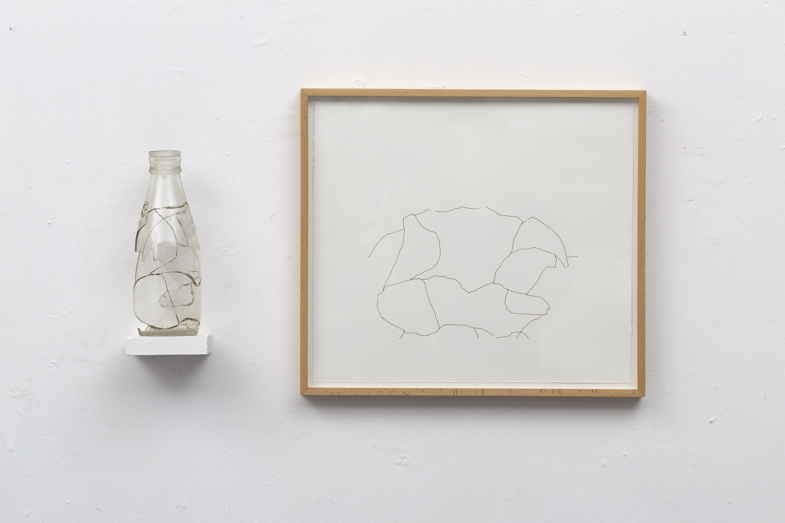 Amikam Toren (1975)  Simple Fraction III.  Glass, araldite, shelf, drawing. 36 x 64 x 9 cm.