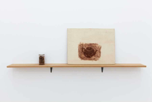 Amikam Toren (1979)  Neither a Teapot nor a Painting.  Installation, mixed media. 179 x 15 x 2 cm.