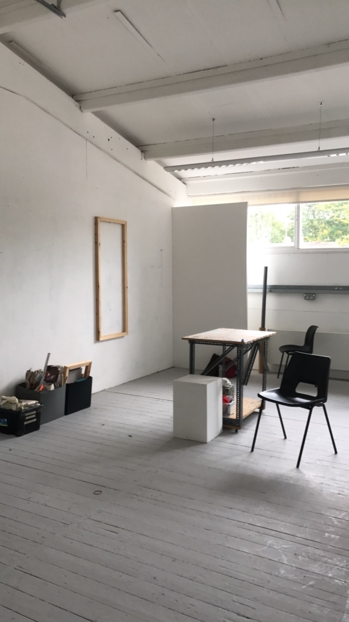 Ally McGinn (2017) Studio documentation.  New studio space, settling in on the first day. I chose this space above others for the additional wall created in this space by the last student. I see a lot of potential for that wall, and the space behind it.