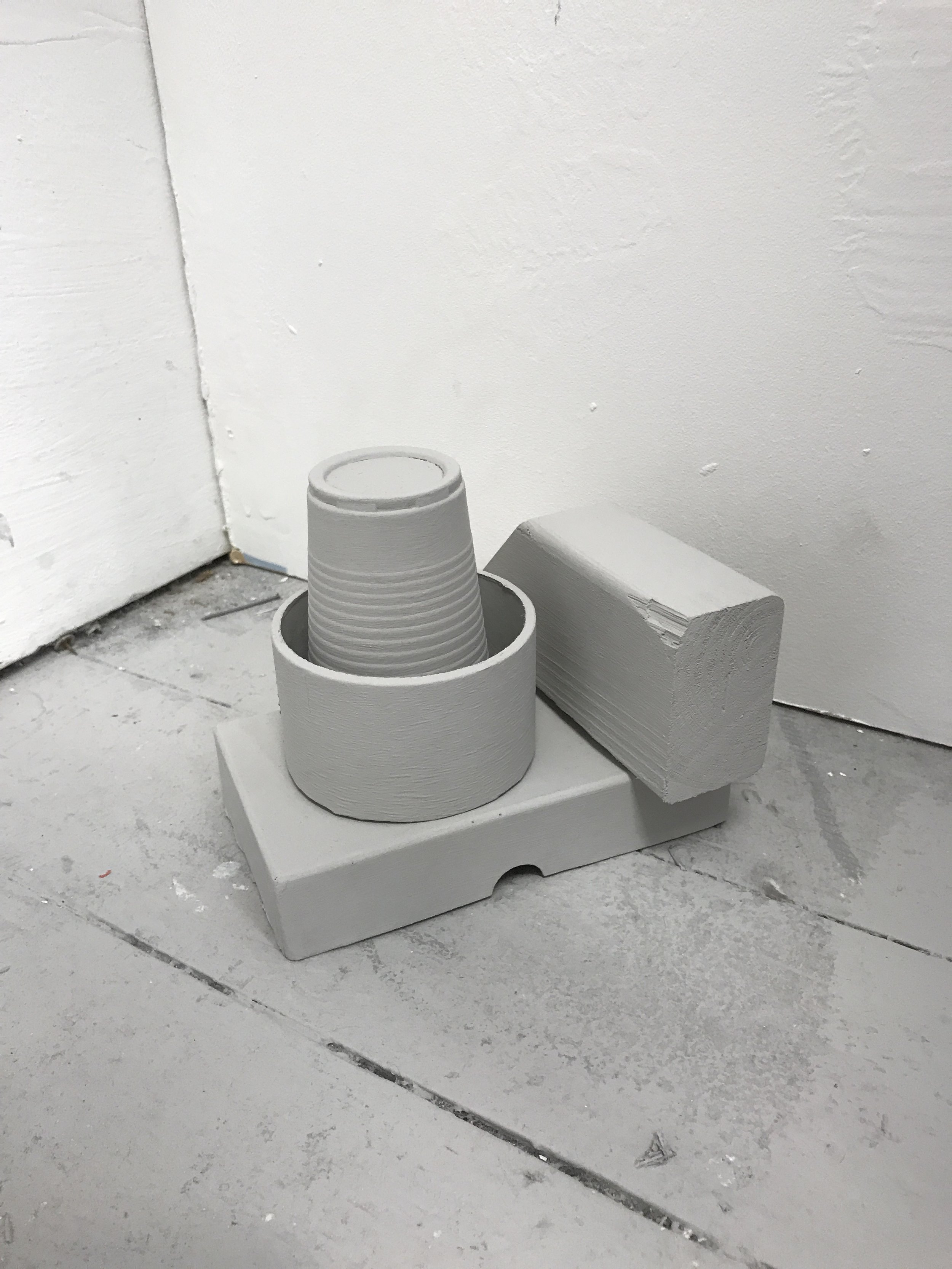 Ally McGinn (2017) [Studio documentation].Normalising objects, equalising form, exploring hierarchy.