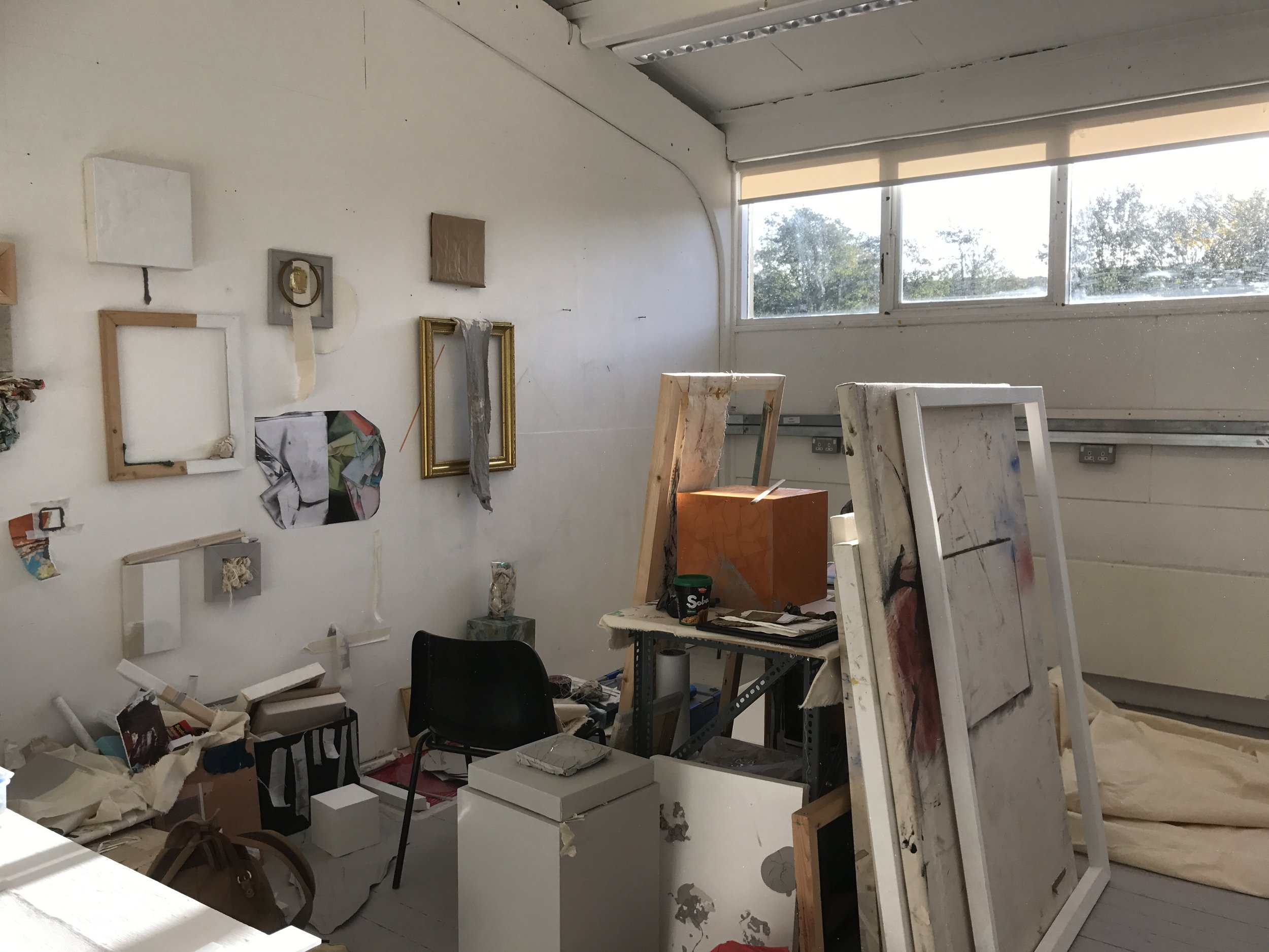 Ally McGinn (2017) [Studio documentation].  Studio View - Wednesday 25th, 9:30am - The wall is down. The light is amazing, but I've had an idea.