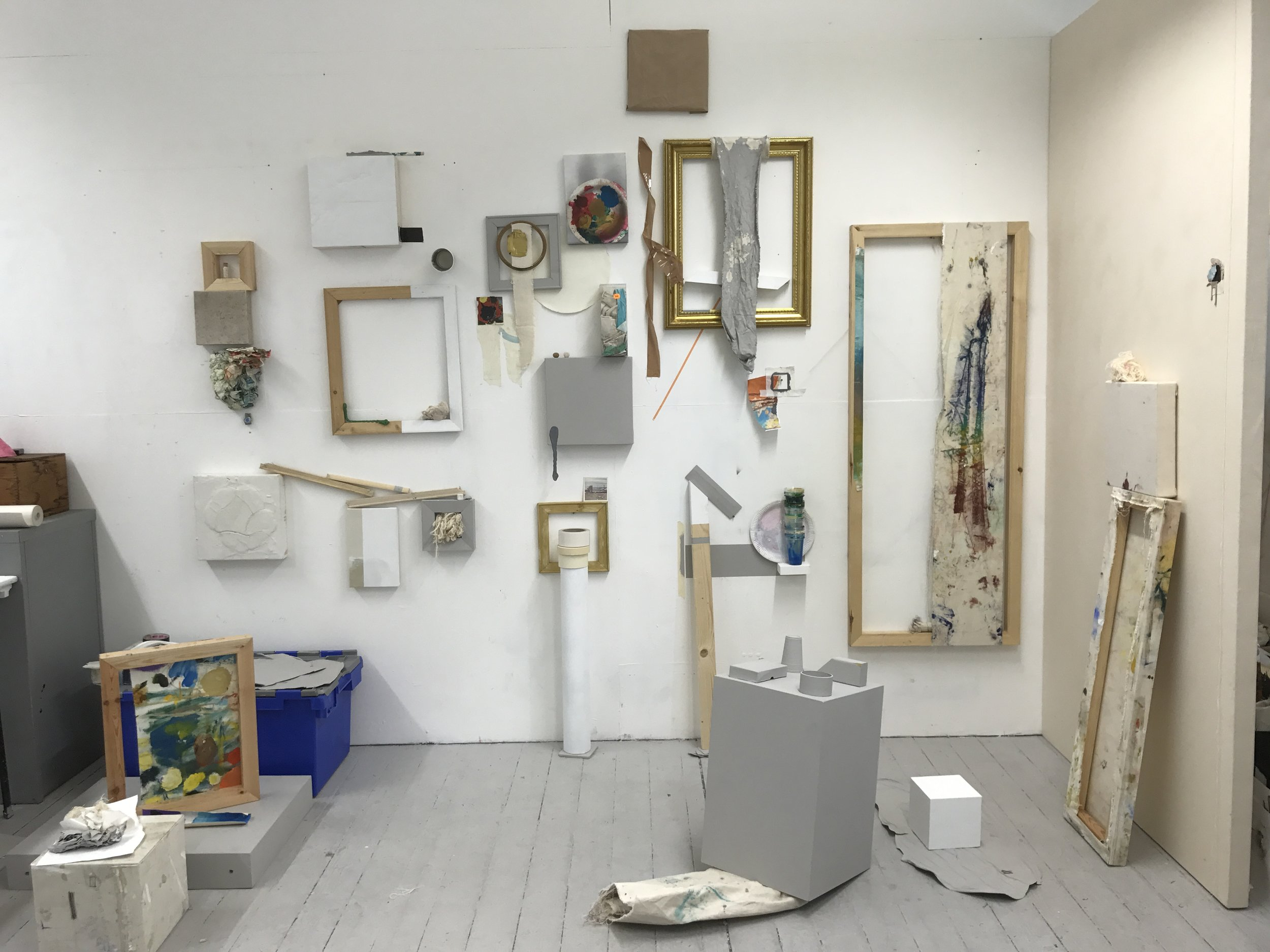 Ally McGinn (2017) [Studio documentation].  Studio View - End of week 5. The works on the wall are beginning to connect. Balance is still a keen interest.