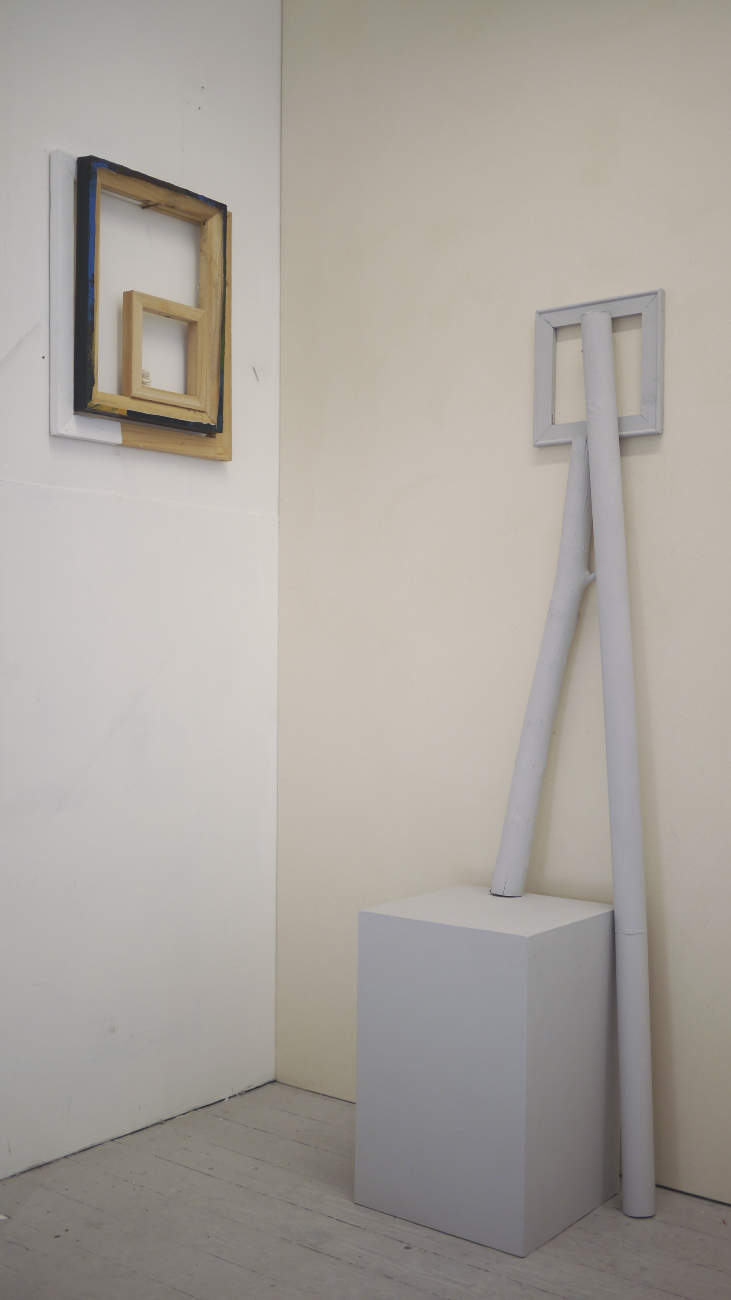 Ally McGinn (2017)Presentation test [Studio view].  There are individual pieces in my practice, but the second part of their existence involves the exploration of them in relation to other works. This photo is a test of a conversation between the works.