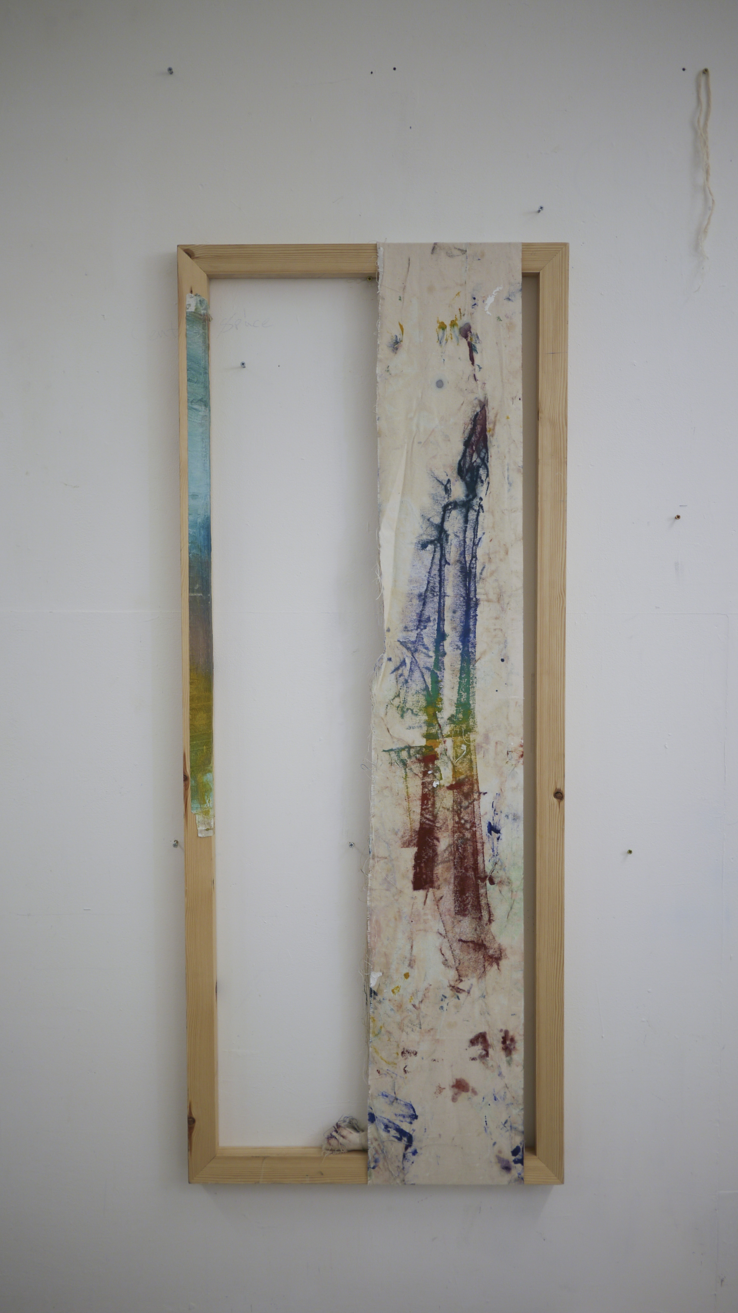 Ally McGinn (2017)  Guyon.  Oil on canvas and masking tape, with frame. 120 x 50 cm.
