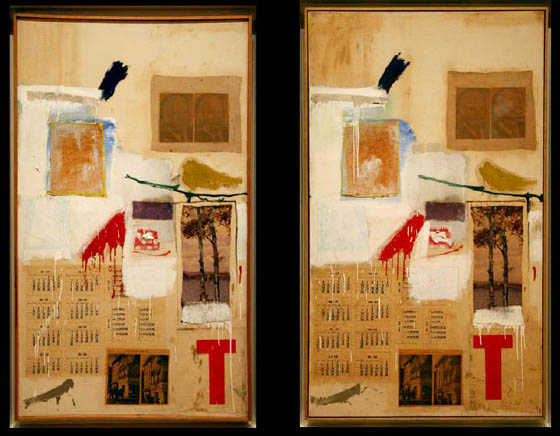 Robert Rauschenberg (1957)    Factum I and Factum II . Combine painting: oil, ink, pencil, crayon, paper, fabric, newspaper, printed reproductions, and printed paper on canvas. 156 x 91 cm.