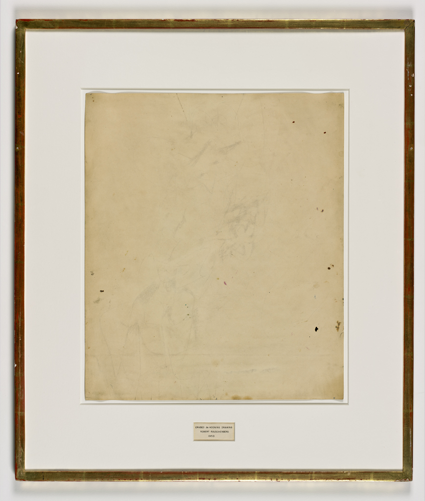 Robert Rauschenberg (1953)    Erased de Kooning Drawing . Traces of drawing media on paper with label and gilded frame. 64.14 x 55.25 x 1.27 cm.