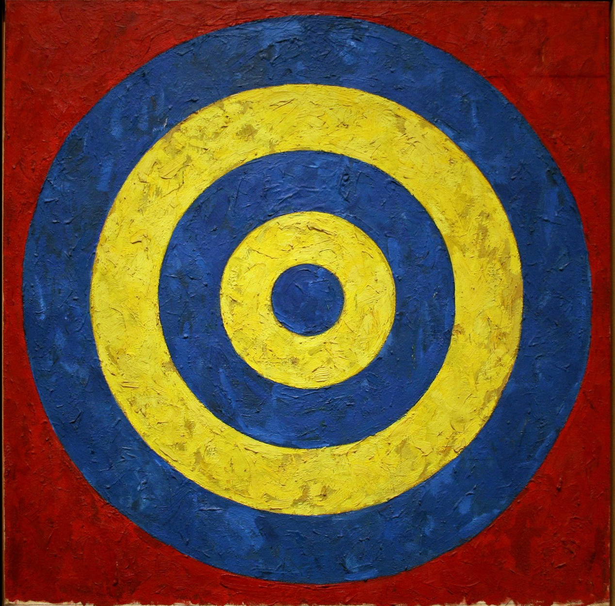 Jasper Johns (1958) Target. Encaustic on newspaper and cloth on canvas. 66 x 66 c